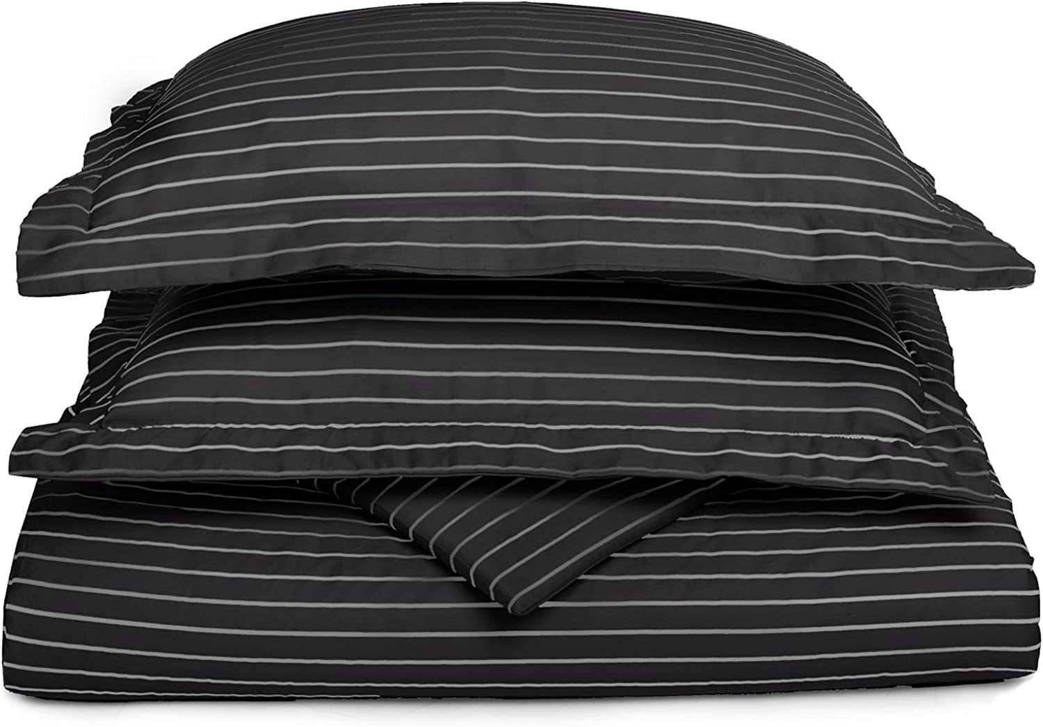 Cotton Blend 600 thread Count, Soft, Wrinkle Resistant, 3-Piece King California King Duvet Cover Set, Bahama Striped,  Black with White Stripes