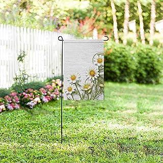 Hermosas Flores de manzanilla Margarita sobre Fondo de Madera Bandera de jardín Decorativa para Jardines, Pancarta (sin asta de Bandera)