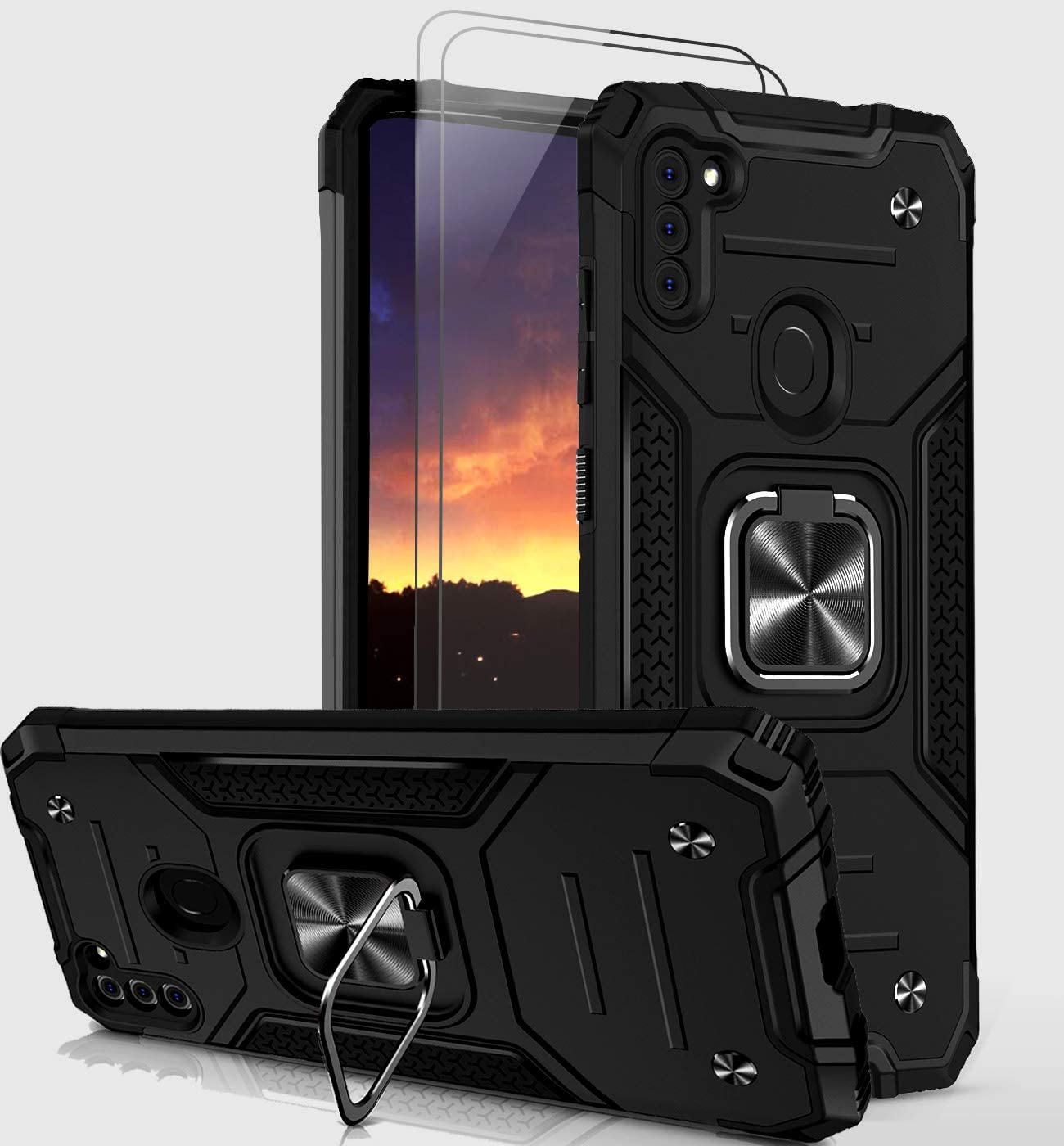 Bonkier Galaxy A11 Case with 9H Tempered Glass Screen Protector[2 Pack], [Military-Grade] Shockproof Samsung Galaxy A11 Phone Case with Ring Holder Kickstand (Black)