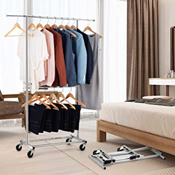 Auledio Expandable Double Rod Clothing Garment Racks On Wheels, Heavy Duty Hanging Clothes Organizer Stand Adjustable...