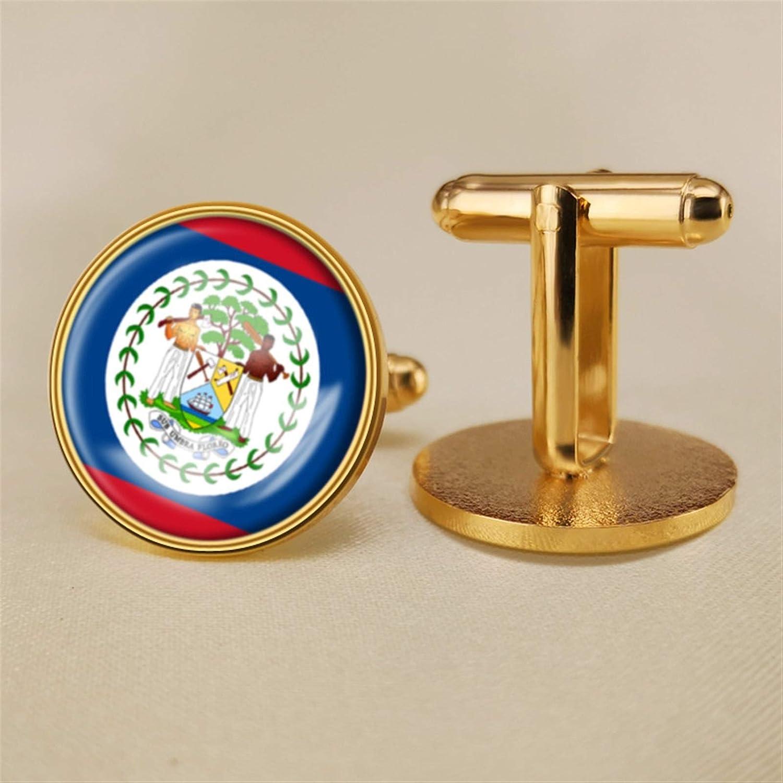 YYOBK Boys' Cuff Links,Men's Cuff Links,Shirt Studs,Sports Fan Cuff Links,Belize Flag Cufflinks,Round Cufflinks, Copper 19mm (Color : Gold, Size : 19mm)