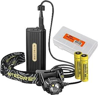 Nitecore HC70 1000 Lumen LED Headlamp with External Battery Case Plus 2X 3500mAh Rechargeable Batteries and Lumen Tactical Battery Organizer Bundle