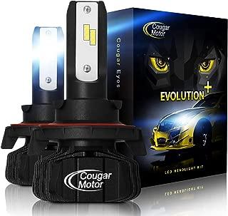 Cougar Motor H13 Led headlight bulbs, 9600Lm 6500K (High/Low) Fanless Conversion Kit - 3D Bionic Technology, 360°Adjustable Beam