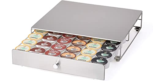 Nifty Coffee Pod Drawer – Stainless-Steel, Compatible with K-Cups, 36 Pod Pack Holder, Rolling Drawer, Under Coffee P...