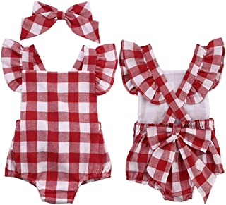 Vibola® Newborn Girl Checkered Cotton Bowknot Clothes Bodysuit Romper Jumpsuit