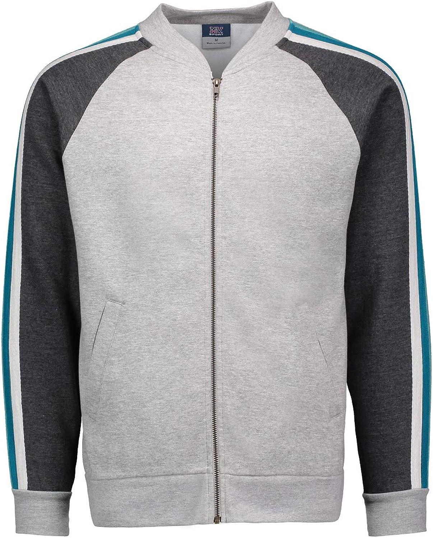 MV Sport Retro Mens Track Jacket Men - Fleece Jacket with Stripes - Bomber Sweatshirt
