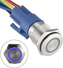 API-ELE [3 Year Warranty] 16mm Latching Push Button Switch 12V DC On Off Stainless Steel with LED Angel Eye Head for 0.63