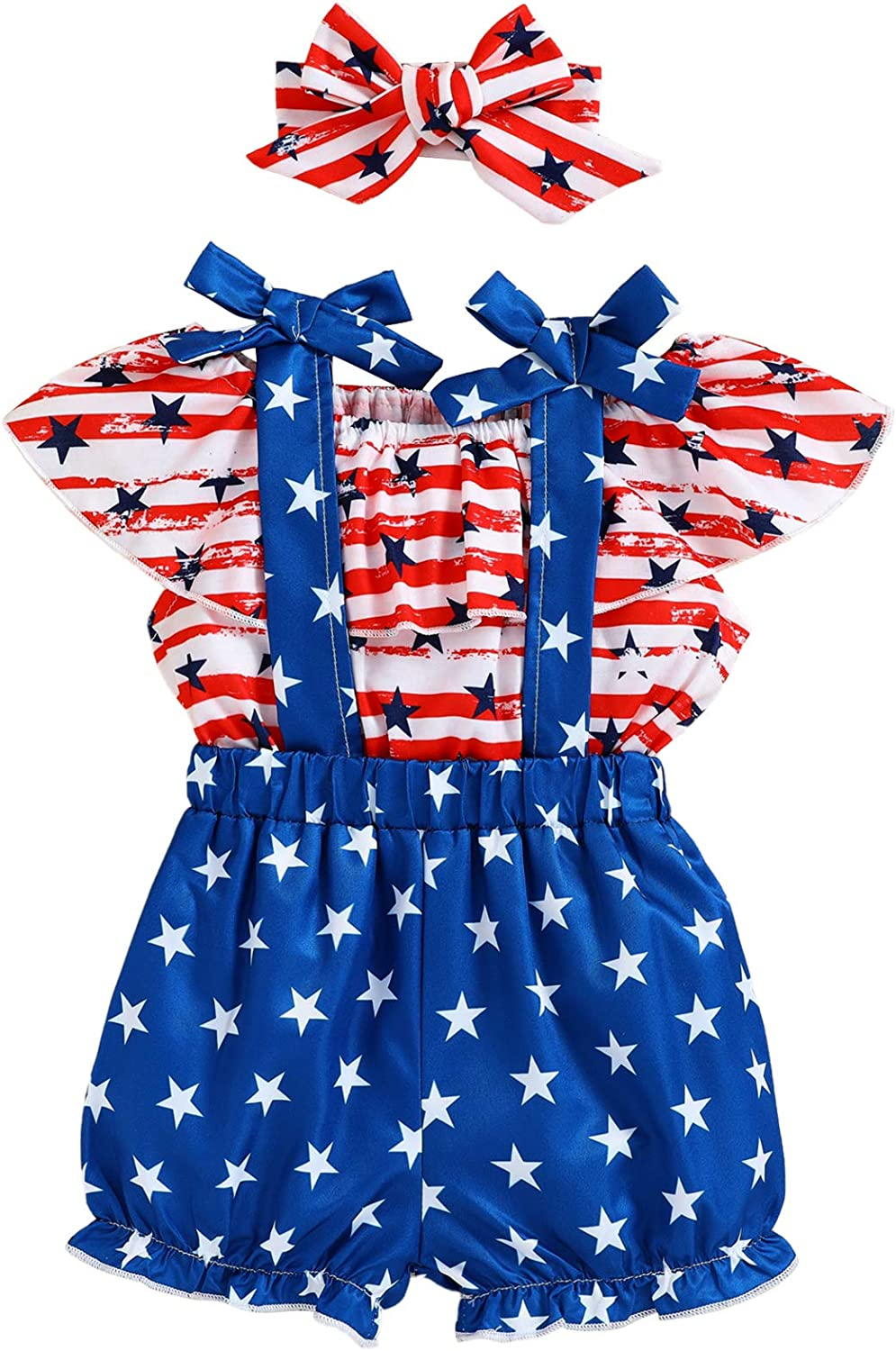 Toddler Baby Girl 4th of July Dress Off-Shoulder Ruffle Dresses American Flag Pattern Clothes Set Outfit