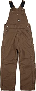 Berne Men's Traditional Washed Duck Insulated Bib Overall - Brown - XXL