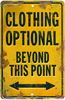 Joeaney Tin Sign New Clothing Optional Beyond This Point Novelty Parking Sign Funny Distressed Metal Wall Decor Vintage Rust Free Aluminum Plaque 8 x 12 Inch