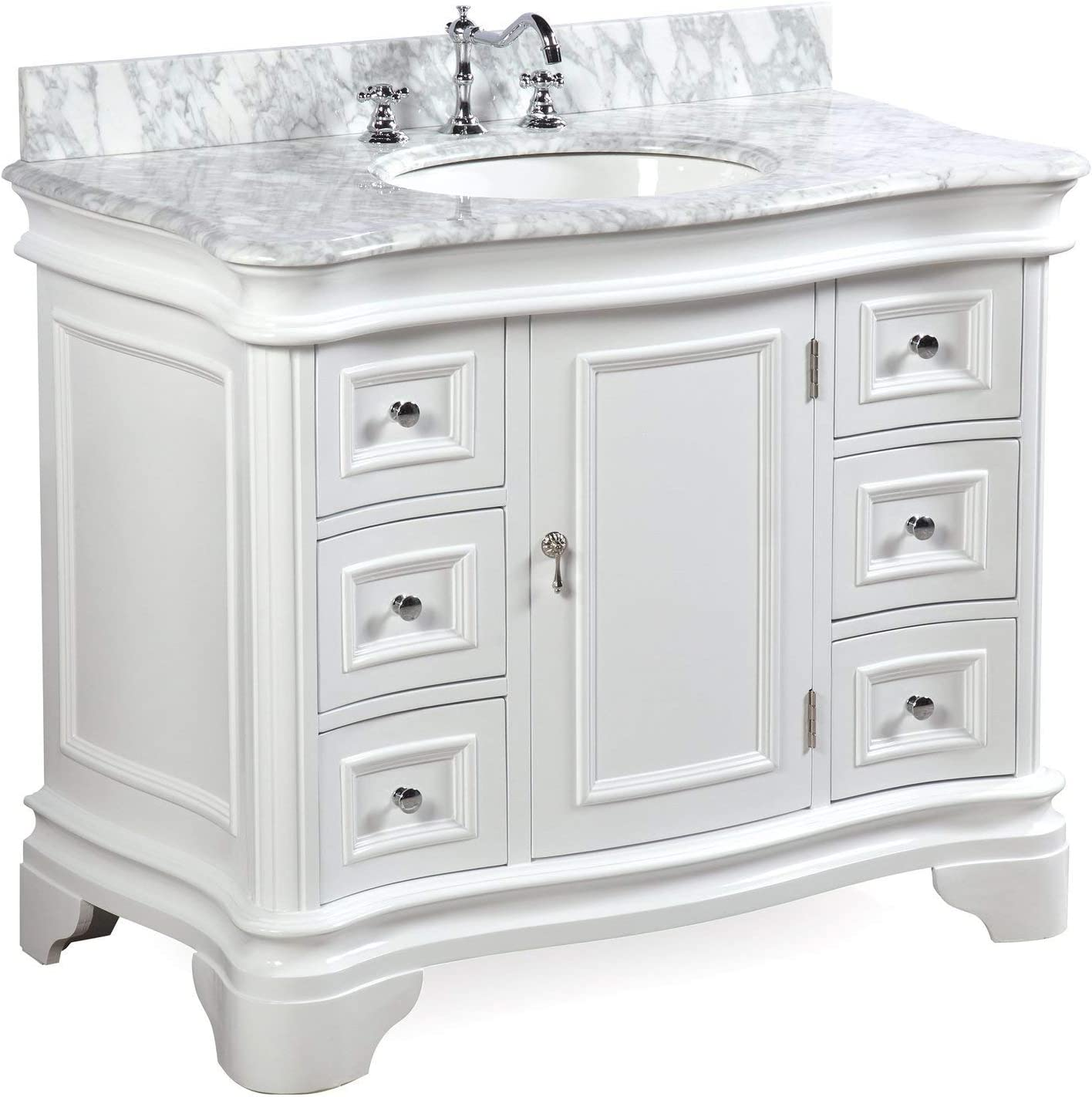 Amazon Com Katherine 42 Inch Bathroom Vanity Carrara White Includes White Cabinet With Authentic Italian Carrara Marble Countertop And White Ceramic Sink Furniture Decor
