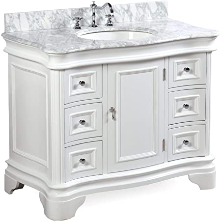 Amazon Com Katherine 42 Inch Bathroom Vanity Carrara White Includes White Cabinet With Authentic Italian Carrara Marble Countertop And White Ceramic Sink Furniture Decor