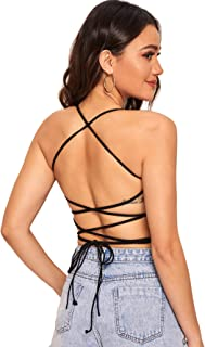 Verdusa Women's Lace Up Sleeveless Strappy Backless Halter Crop Top
