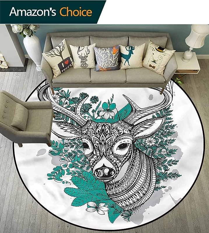 RUGSMAT Antlers Modern Machine Round Bath Mat Detailed Deer Skull Flowers Floor Mat Home Decor Diameter 24