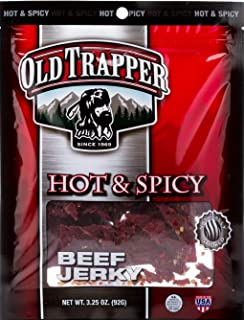 Old Trapper Hot & Spicy Beef Jerky | Traditional Style Real Wood Smoked | Healthy Snacks Made from 100% Top Round Steaks | 3.25 Ounce (Case of 8 bags)