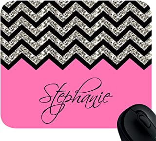 Personalized Rose Black Grey Chevron Pattern(NOT ACTUAL GLITTER) Mouse Pad Mousepad