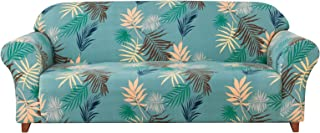 Subrtex Spandex Slipcover Printed High Stretch Washable Couch Cover 1 Piece Furniture Protector (Aqua Printed,Sofa)