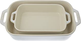 STAUB Ceramics Rectangular Baking Dish Set, 2-piece, Rustic Ivory