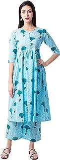 Gulmohar Jaipur Women's A-Line Cotton Printed Kurta Palazzo Set (Blue)
