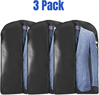 """Houseables Suit Bag, Hanging Jacket Bags for Suits, 40"""", 3 Pack, Black, Travel Clothes Carrier, Dress Cover, Garment Protector, Clear Window, Breathable, Frameless, Costume Storage, Luggage Carry On"""