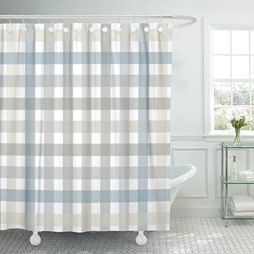 Emvency Shower Curtain Gray Plaid Grey And Blue Lines Pattern Red Abstract Breakfast Waterproof Polyester Fabric