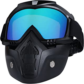 Motorcycle Helmet Riding Goggles Glasses With Removable Face Mask,Detachable Fog-proof Warm Goggles Mouth Filter Adjustable Non-slip Strap Vintage Bullet Fight Motocross (colorful)