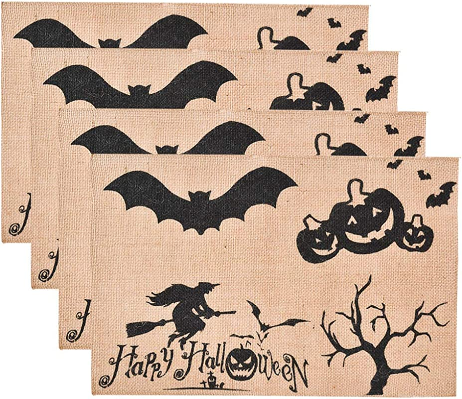 Awtlife 4pcs Jute Burlap Placemat Haunted House Perfect For Halloween Heat Resistant Tablemats Dinner Parties