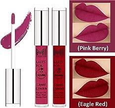 MI Fashion® 2 Pcs Matte Liquid Lip Gloss Lipstick Waterproof, Long Lasting Set of 2 - Pink Berry Berry Lip Gloss,Eagle Red Liquid Lipstick