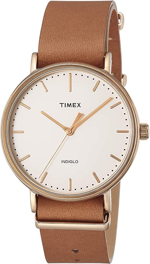 Amazon.com: Timex Unisex TW2P91200 Fairfield 41 Brown Leather Slip-Thru  Strap Watch : Clothing, Shoes & Jewelry