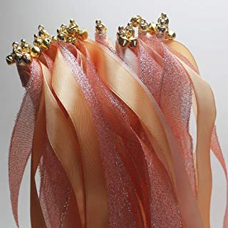 zeman 24 Pcs Wedding Giltter Light Orange Nude Wands Ribbon Streamers with Bell Fairy Stick Party Favor for Baby Shower Holiday Celebration