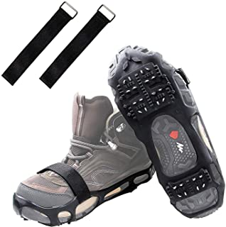Ice Cleats Ice Crampons Snow Grippers, 24 Spikes Traction Cleats for Boots Shoes Men Women Kids Anti Slip Spike Shoes Stretch Footwear for Hiking Walking Mountaineering