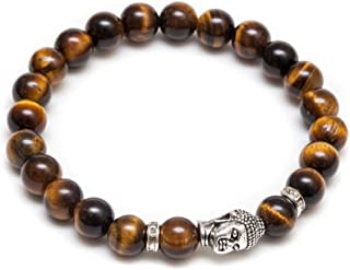 Jewlery Mens Vintage Buddha Beaded Stretch Bracelet - Natural 8mm Tigers Eyes Semi-Precious