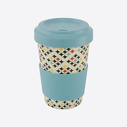 Preisvergleich für Ein 'domo pv-bam-6282Point-Virgule Reise Tasse mit Deckel und rutschfestem Band Kariert 500ml, Bambus, Fasern, blau
