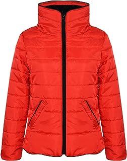 Girls Jacket Kids Padded Puffer Bubble Faux Fur Collar Warm Thick Coats 5-13 Yrs