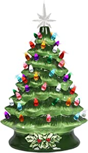 Ceramic Christmas Tree Tabletop Ornaments Vintage Holiday Decorations with Multi-Color Lights Pre-lit,Festival Gift,Shooting Prop,Desktop Decor,Not Including Batteries,15 inch