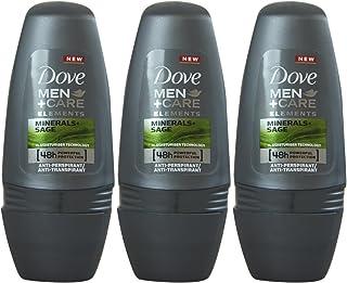 Dove Men+Care Antiperspirant Roll-On, Minerals + Sage, 1.7 Oz / 50 Ml (Pack of 3)
