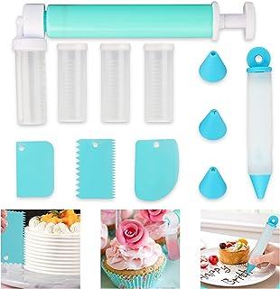 Akivome Manual Airbrush for Cakes, DIY Baking Cake Airbrush Pump Coloring Spray with 4 Pcs Tube, Glitter Decorating Tools ...