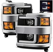 AlphaRex Black Fit 15-19 Chevy Silverado 2500HD/3500HD DRL LED Tube Dual Projector Headlights