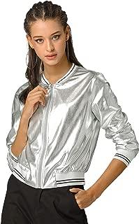 Allegra K Women's Holographic Shimmering Fashion Stand Collar Metallic Lightweight Zip Bomber Jacket