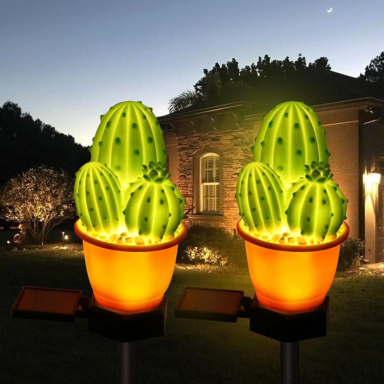 2 Pack Solar Cactus-Shaped Lights Patio Yard Garden Decor Stake Decorative LED Light Waterproof,Solar Night Landscape Lights.Landscape Lights Pathway Yard Lawn Walkway Decoration