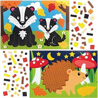 Baker Ross AX209 zestawy mozaikowe ze zwierzętami leśnymi dla dzieci - opakowanie 4 sztuk, odklej i przyklejanie do majste...