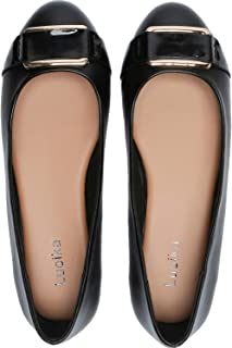 Women's Wide Width Flat Shoes - Comfortable Slip On Round Toe Faux Leather Ballet Flats.