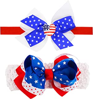Baby Girls Fourth of July Headband Bows Independence Day Patriotic Red White Blue USA Flag Head Wrap Boys Ribbon Hairband ...