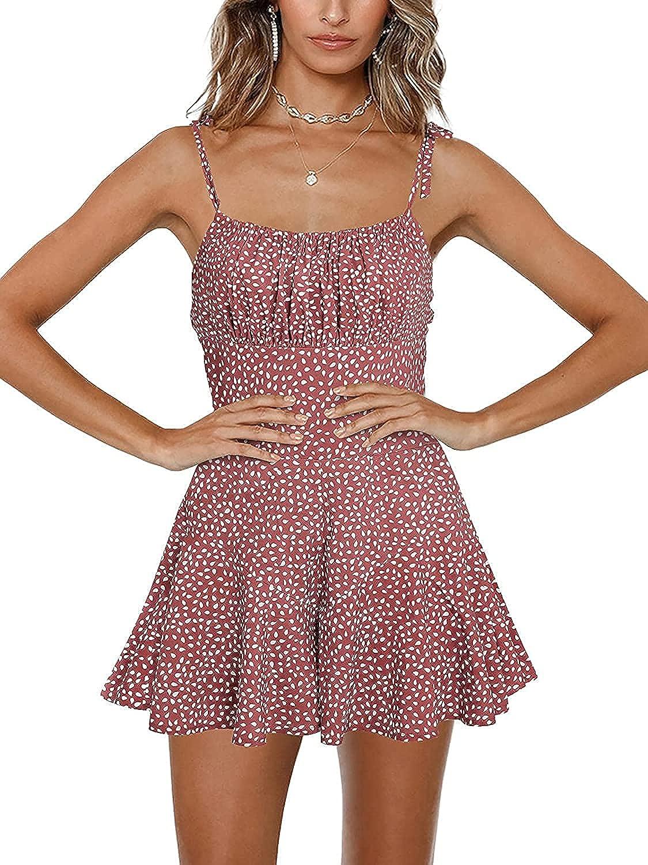 Ranle Sale item Womens Spaghetti Strap Print Sho Wide Jumpsuit New item Leg Smocked