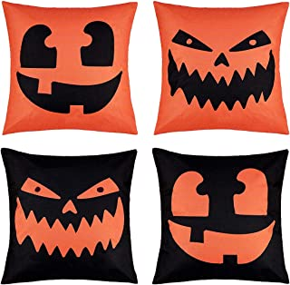 peony man Happy Halloween Pillow Covers Cotton Linen Pumpkin Pillow Case with Halloween Pumpkin Smiley Face Printed for Home Party Decoration Supplies, 18 x 18 Inch