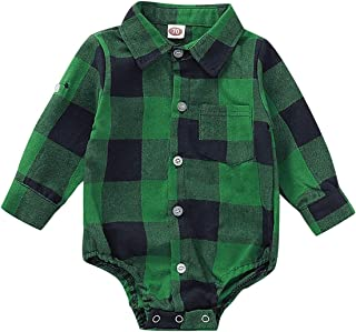 Camidy Baby Boy Girl Lapel Collar Classic Plaid Romper Jumpsuit Bodysuit Playsuit