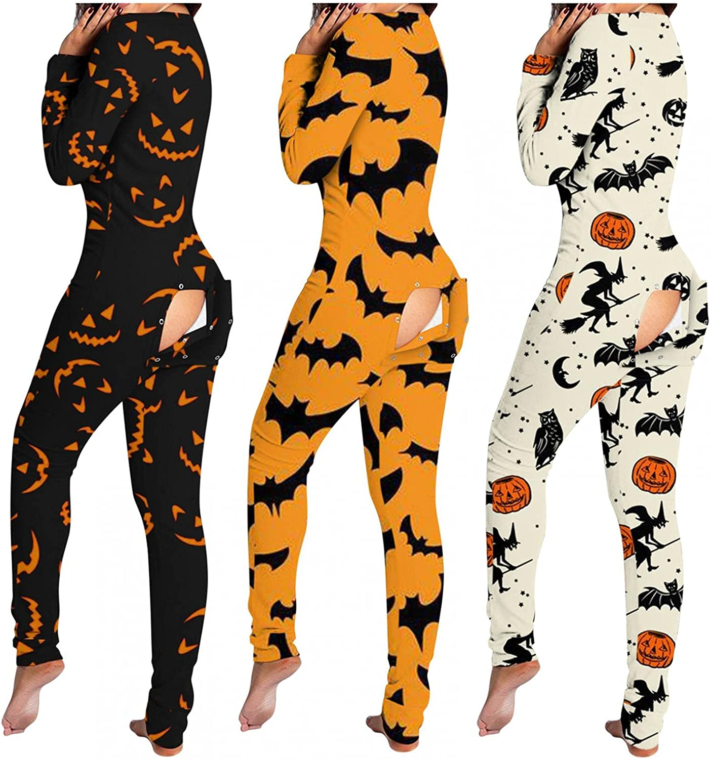 Lingbing Halloween Jumpsuits for Women, Funny Pumpkin Witch Graphic Bodysuit Sexy V Neck Lingerie Pajamas with Butt Flap