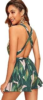 Women's V Neck Halter Strap Backless Leaf Print Shorts Romper Jumpsuit