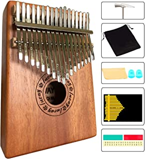 Luvay Kalimba 17 key Thumb Piano, Solid Mahogany Body (Light Color)