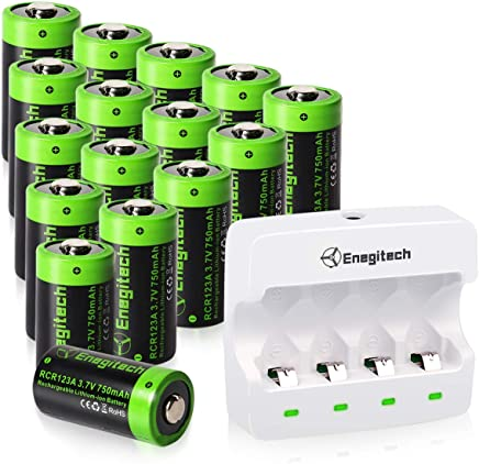 Rechargeable Arlo Batteries CR123A Lithium Batteries 16Pack with Charger 3.7V 750mAh RCR123A Battery with PTC Protection for Arlo Cameras VMC3030 VMK3200 VMS3330 3430 3530 Flashlight Security System